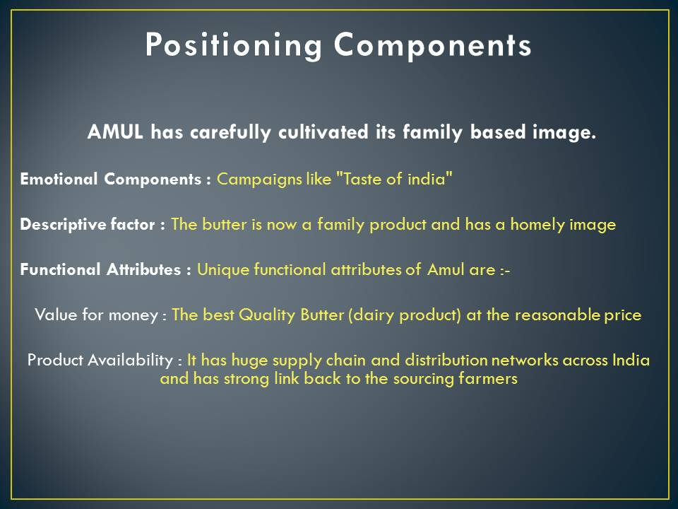 Amul Positioning components