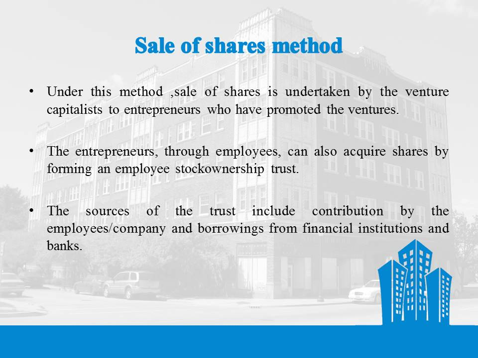 Sale of Shares Method
