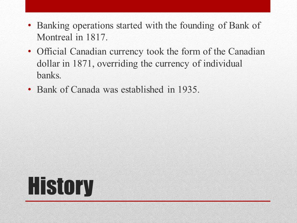 Banking System of Canada history