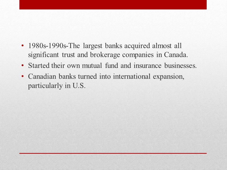 History of Banking system of Canada