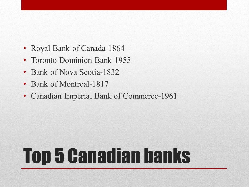 Top 5 Canadian Banks