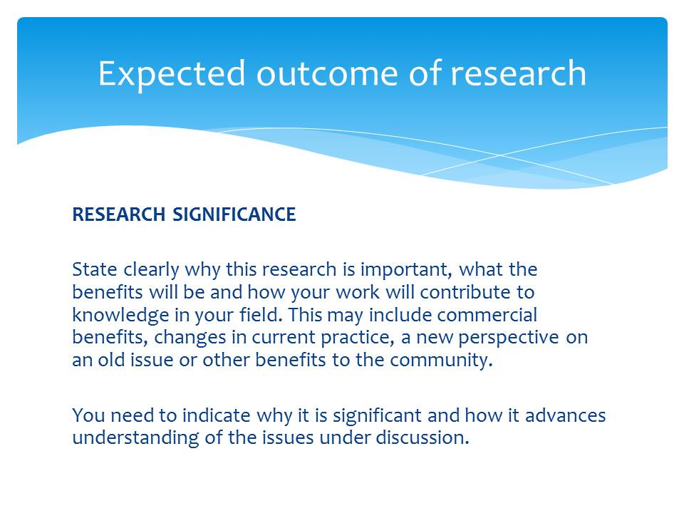 Outcome of Research