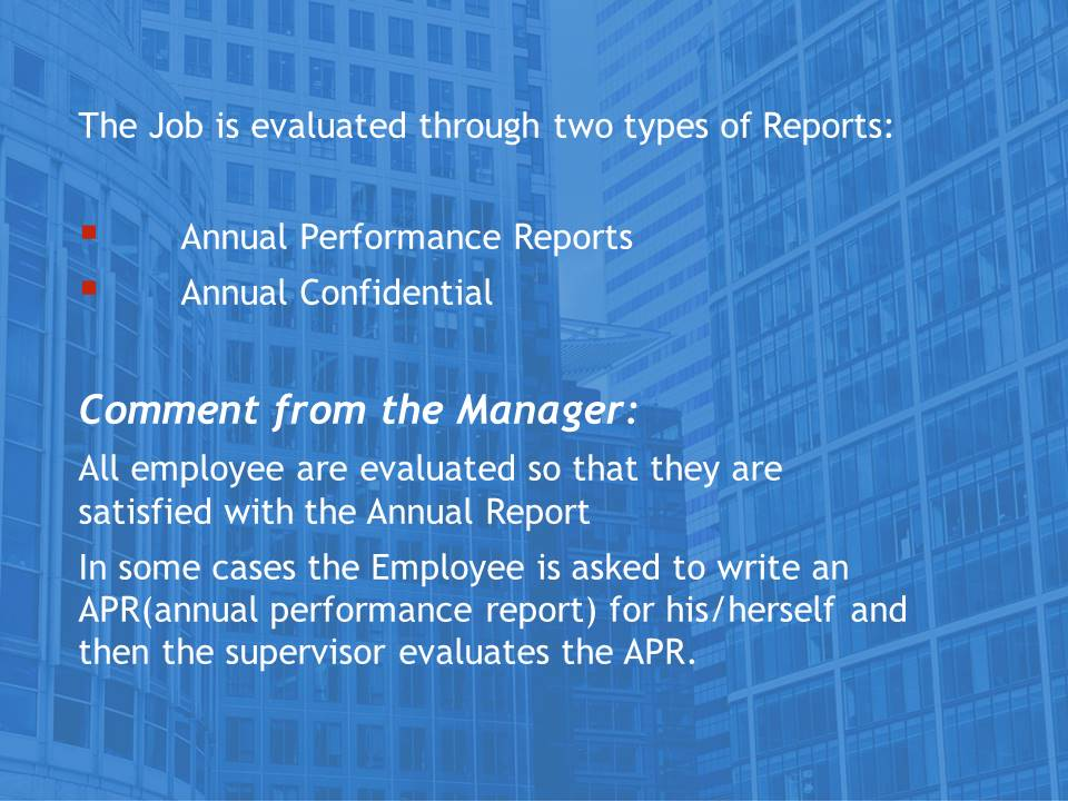 Job evaluation report