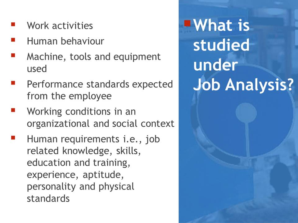 elements of Job Analysis
