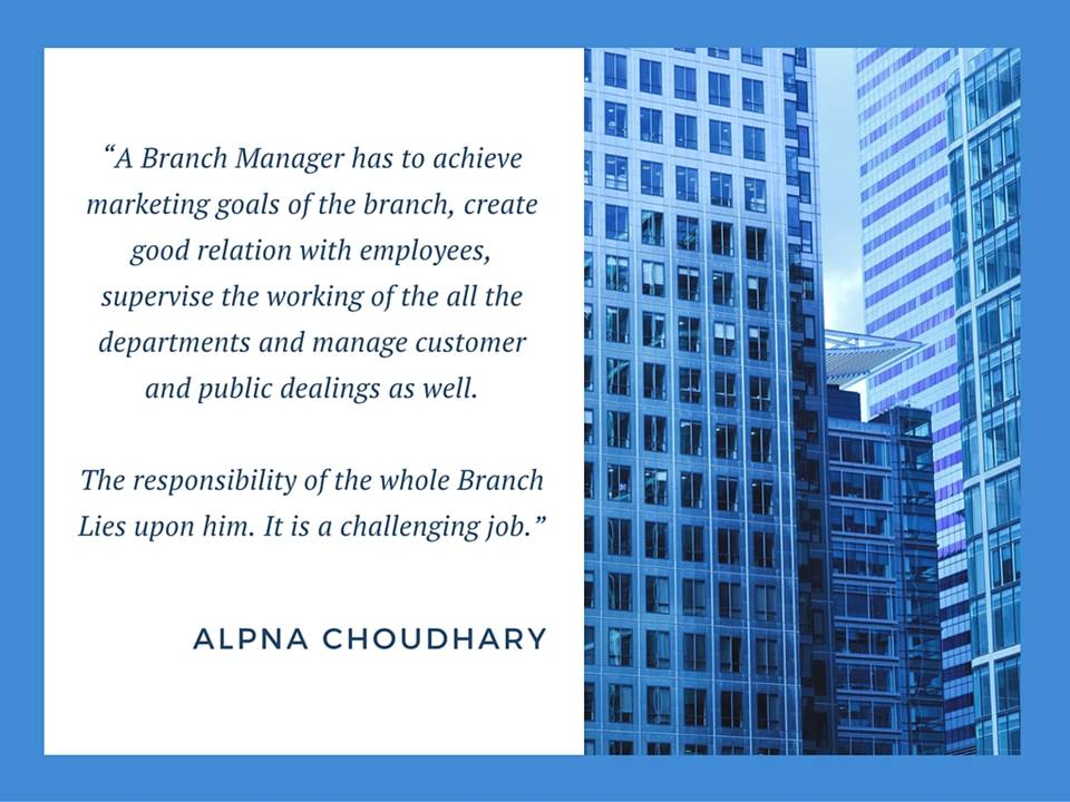 Role of a Branch Manager