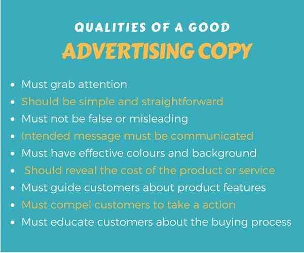 advertising copy - qualities  elements  evaluation