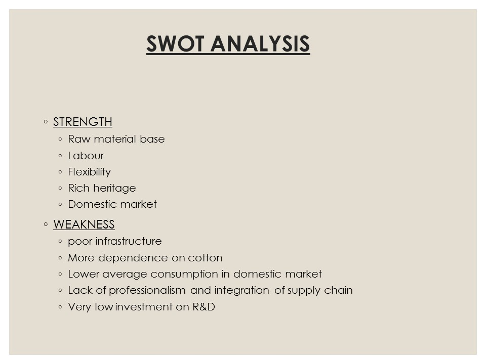 SWOT Analysis apparel industry