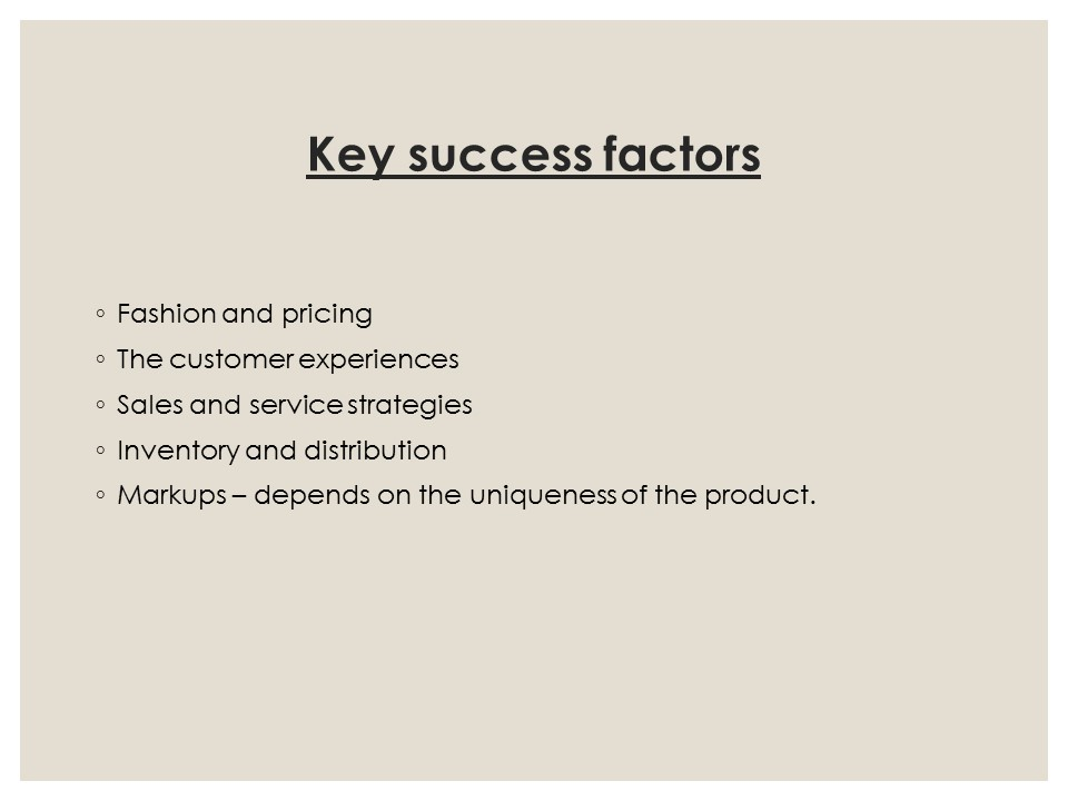 Success factors apparel industry